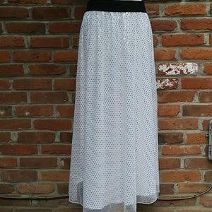LuLaRoe White Gold Sparkly Maxi Skirt